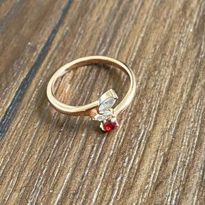 Rose gold plated cubic zirconia faux ruby ring